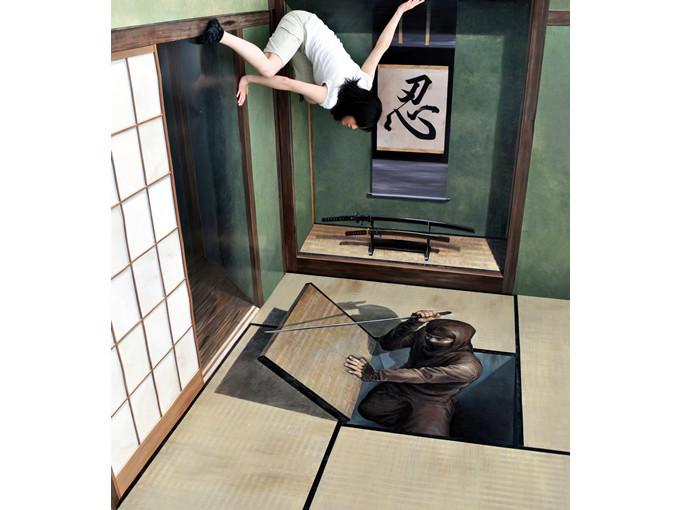 展示作品一例「忍者屋敷(横倒しの部屋)」